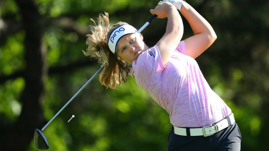 Brooke Henderson watches her tee shot on the second hole during the second round of the 2018 KPMG PGA Championship at Kemper Lakes Golf Club