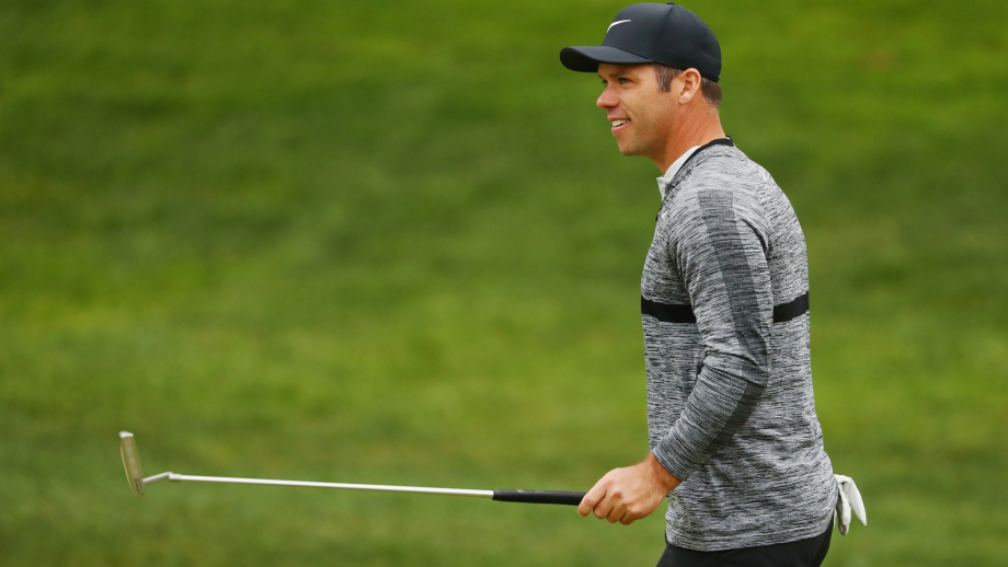 Paul Casey of England gestures to the gallery as he walks on the 18th hole during the third round of the Travelers Championship at TPC River Highlands on June 23, 2018 in Cromwell, Connecticut.