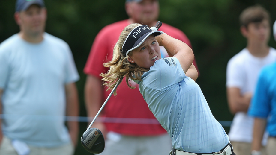 Brooke Henderson of Canada watches her tee shot on the fourth hole during the final round of the Marathon Classic Presented By Owens Corning And O-I at Highland Meadows Golf Club on July 15, 2018 in Sylvania, Ohio