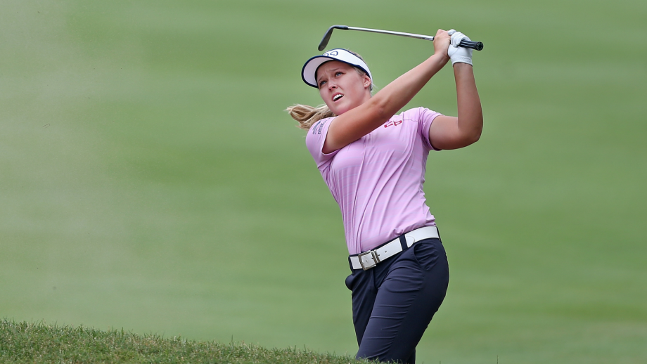 Brooke Henderson of Canada watches her third shot on the third hole during the third round of the Marathon Classic Presented By Owens Corning And O-I at Highland Meadows Golf Club on July 14, 2018 in Sylvania, Ohio