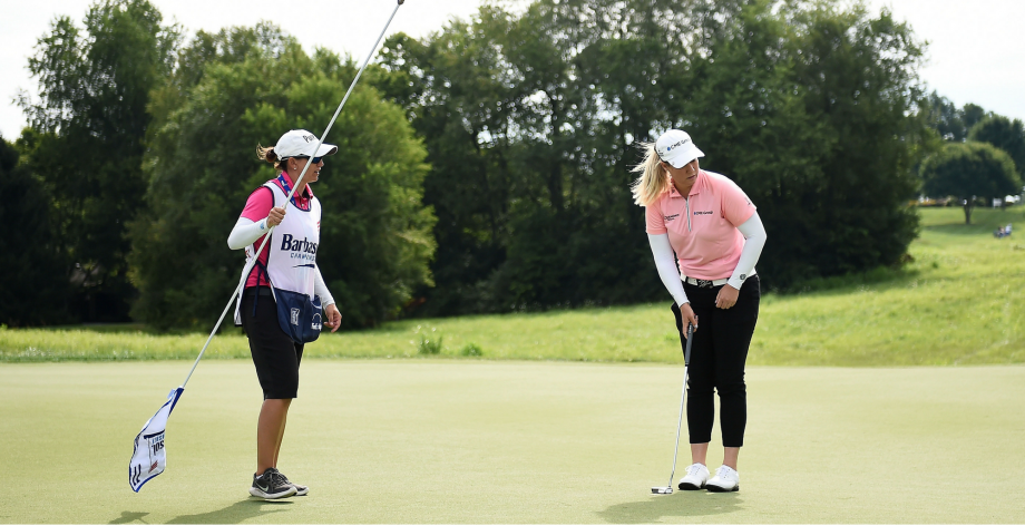 Brittany Lincicome lines up a putt on the 11th green during the first round of the Barbasol Championship at Keene Trace Golf Club on July 19, 2018 in Lexington, Kentucky.