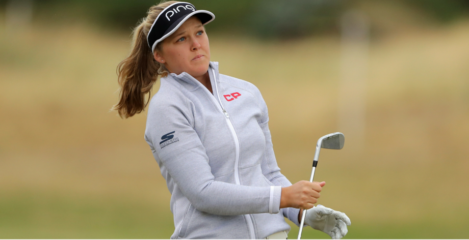 Brooke Henderson of Canada plays her second shot on the 2nd hole during day one of Ricoh Women's British Open at Royal Lytham & St. Annes on August 2, 2018 in Lytham St Annes, England.