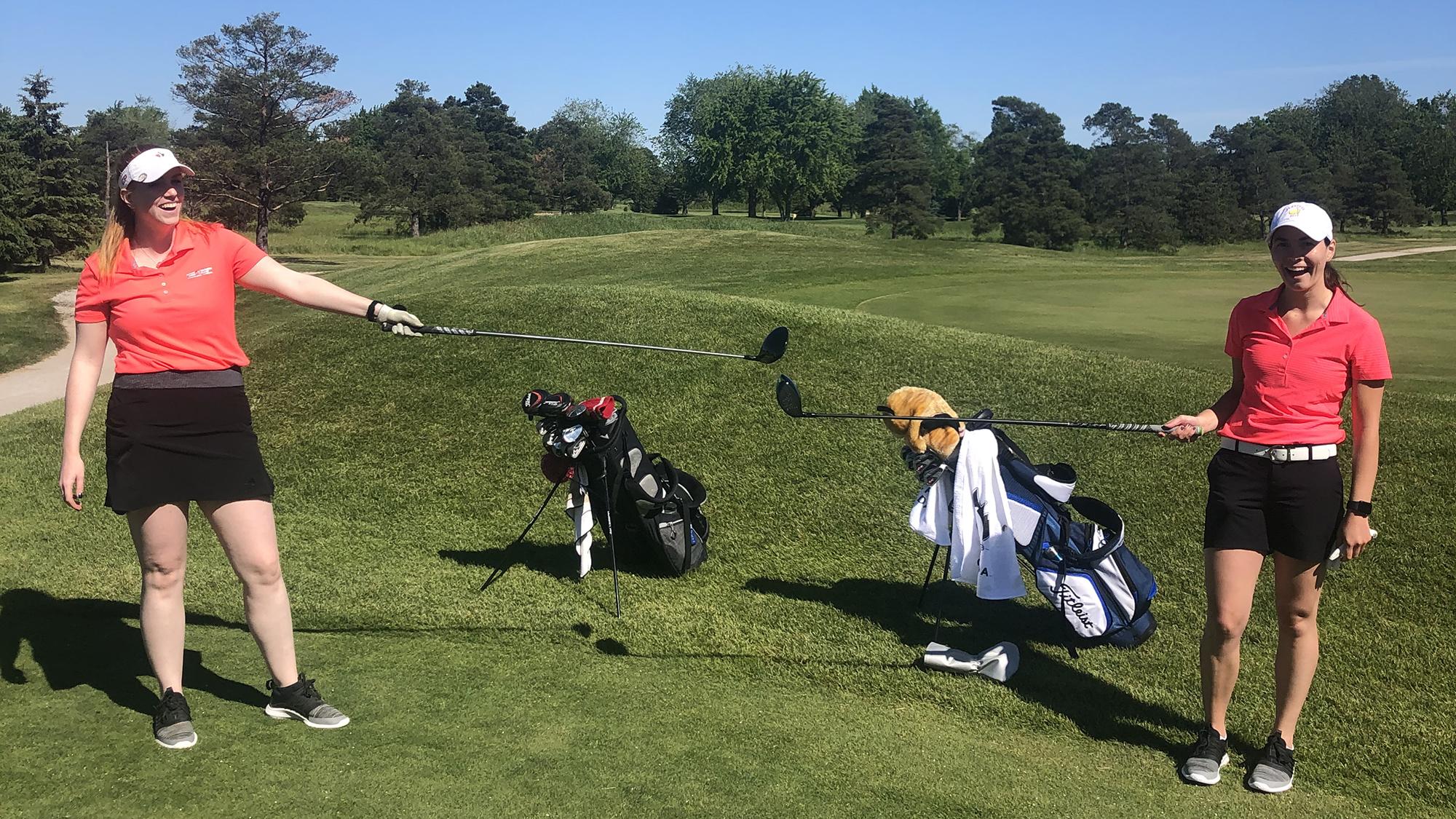Female golfers. Emily and Steph