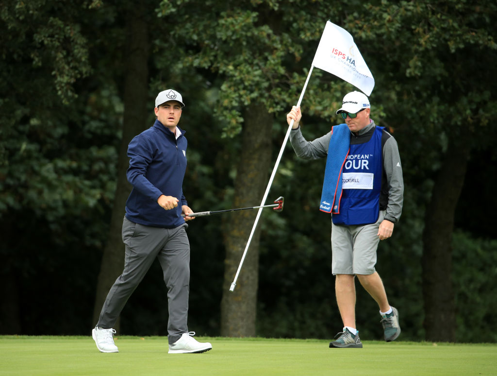 SUTTON COLDFIELD, ENGLAND - AUGUST 29: Aaron Cockerill of Canada and his caddie look on during Day 3 of the ISPS HANDA UK Championship at The Belfry on August 29, 2020 in Sutton Coldfield, England. (Photo by Andrew Redington/Getty Images)