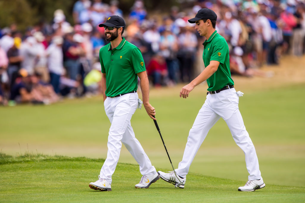 MELBOURNE, VIC - DECEMBER 13: Adam Hadwin of Canada and Joaquin Niemann of Chile, playing as part of the International Team in action during the second round of the 2019 Presidents Cup on December 13, 2019, at the Royal Melbourne Golf Club, Black Rock, Melbourne, Australia. (Photo by Jason Heidrich/Icon Sportswire via Getty Images)
