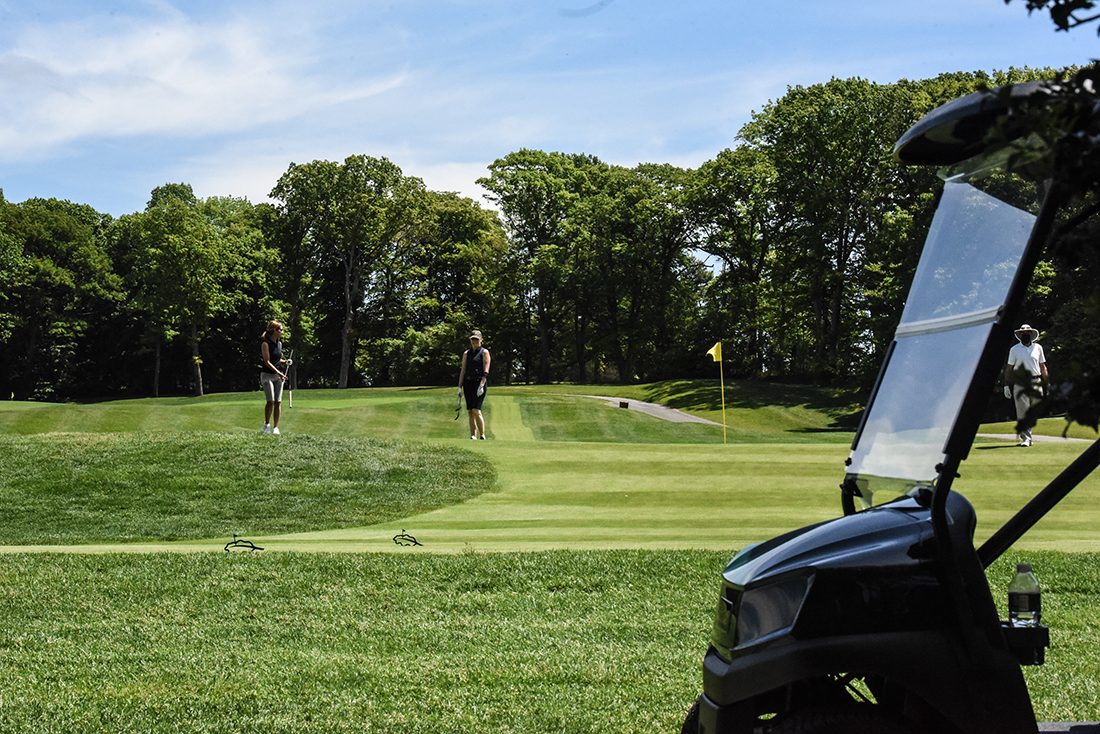 OLD WESTBURY, NY - MAY 27: People play golf at Glen Oaks Club on May 27, 2020 in Old Westbury, New York. Gov. Gov. Andrew Cuomo announced that Nassau and Suffolk counties could begin Phase 1 of the states economic reopening plan on Long Island after a shutdown of nonessential businesses for more than two months due to the coronavirus pandemic. (Photo by Stephanie Keith/Getty Images)