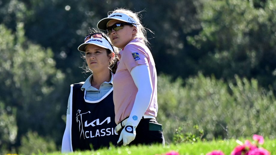 Brooke Henderson watches tee shot