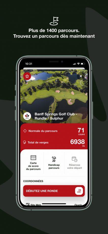 Appli de Golf Canada - trouvez un parcours